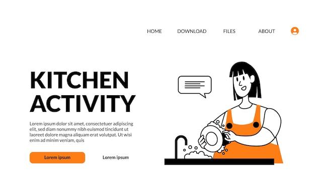 Плоский контур современной иллюстрации кухонная деятельность женщина бытовая тарелка для мытья посуды в раковине