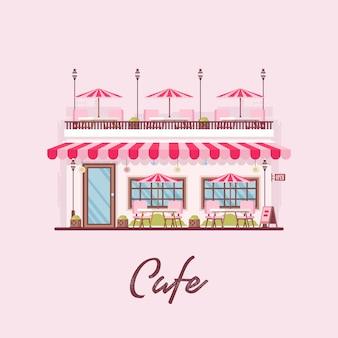 플랫 아웃사이드 커피 카페 레스토랑 인 타운