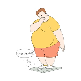 Flat overweight obese unhappy man at scale