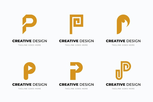 Flat p logo collection