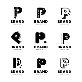 Flat p logo template collection