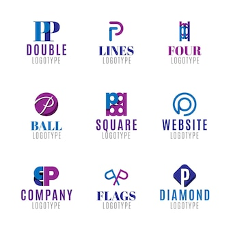 Flat p logo templates collection