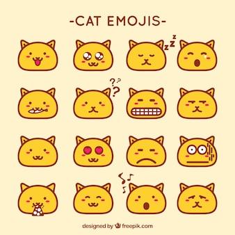 Flat pack di emoticon gatto decorativi