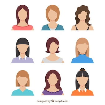 Flat pack of female avatars