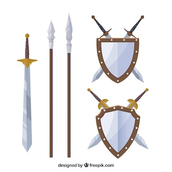Flat pack of medieval weapons
