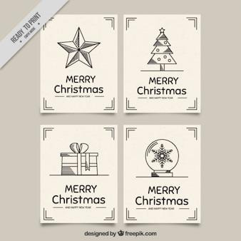 クリスマスグリーティングカードのフラット・パック