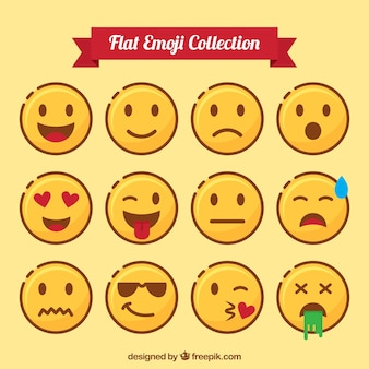 Flat pack of expressive emoticons