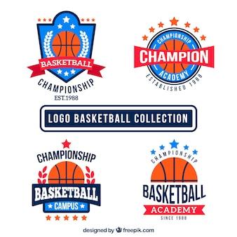 4色のバスケットボールのロゴのフラットパック