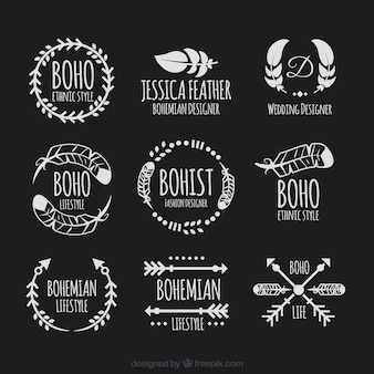 Плоский пакет логотипов в стиле богемного