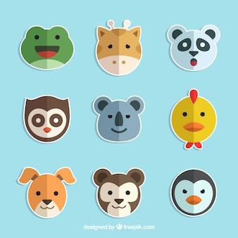 사랑스러운 동물 스티커 플랫 팩