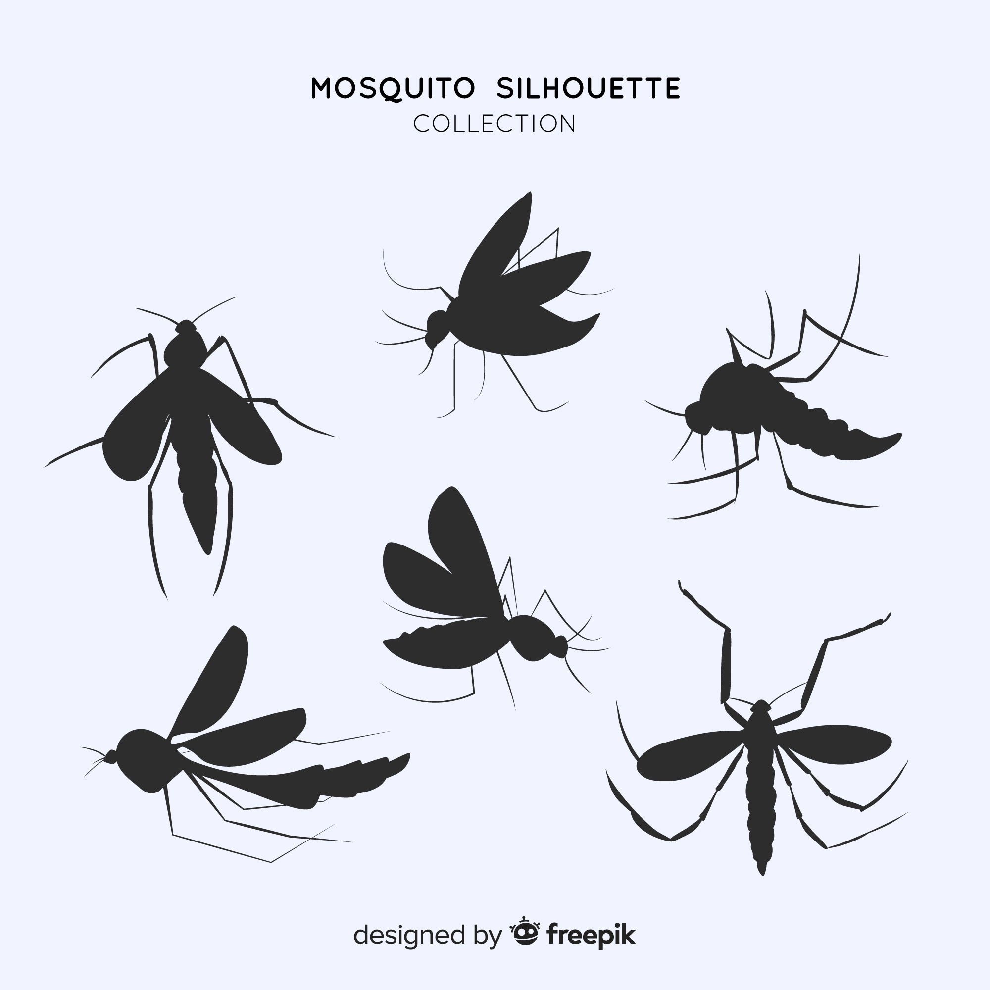 Flat pack of mosquito silhouettes