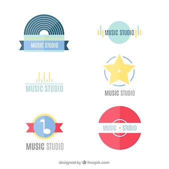 音楽スタジオのロゴのフラット・パック
