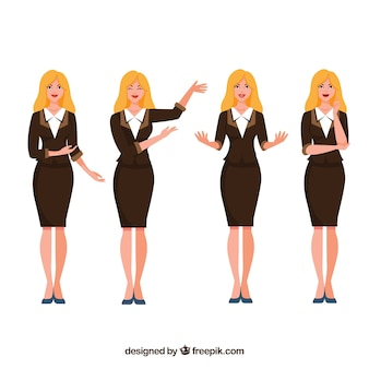 Flat pack of stylish businesswoman character with facial expressions