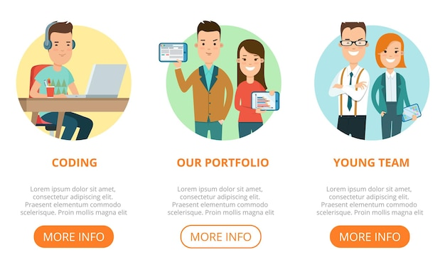 Flat page web design template infographics website icons thin line vector illustration