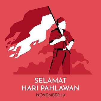 Flat pahlawan heroes day