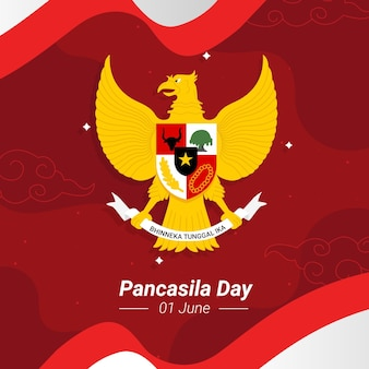 Flat pancasila day illustration