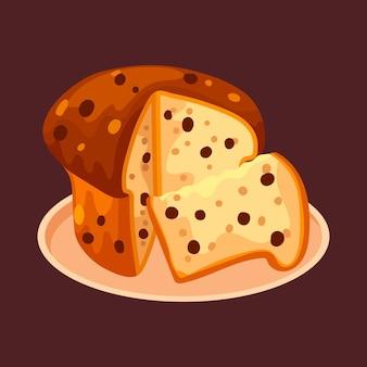 Плоский торт панеттоне иллюстрация