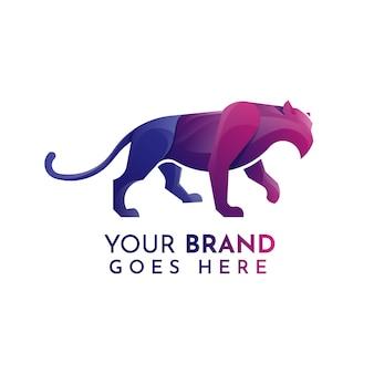 Flat panther logo template