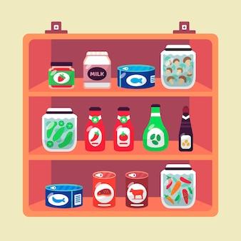 Illustrazione di cibo dispensa piatta