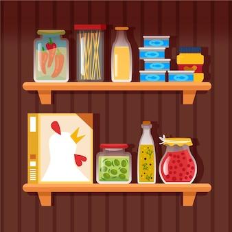 Illustrazione di dispensa piatta