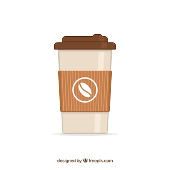 Flat paper coffee cup background