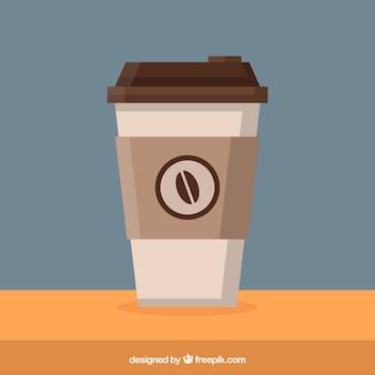 Плоская бумажная кофейная чашка с фронтальным видом