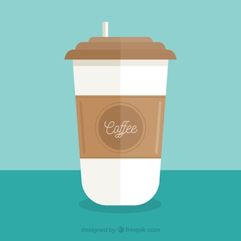 Flat paper coffee cup with frontal view