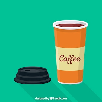 Flat paper coffee cup
