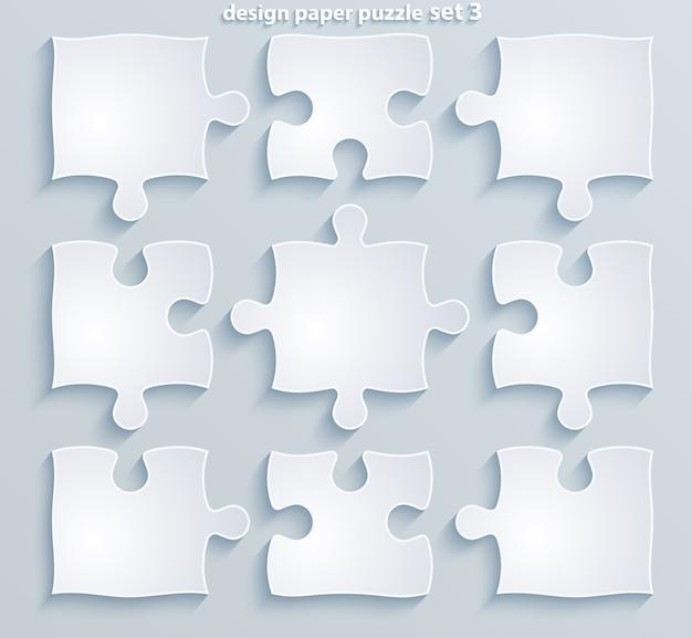 Flat paper puzzle set of  pieces of jigsaw business concept motivation web  mobile design media