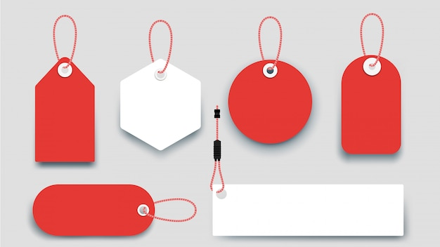 Flat paper sale tags. set of isolated sale labels.