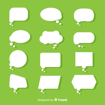 Flat paper style speech bubble on green background