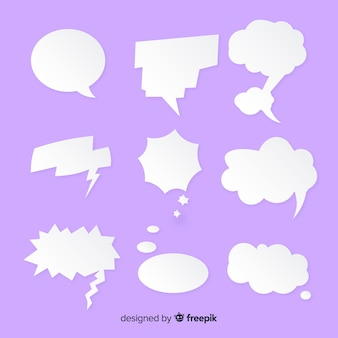 Flat paper style speech bubble mixture