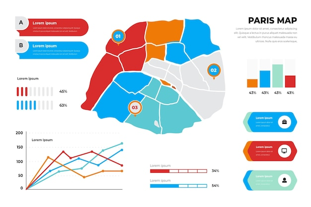 Flat paris map infographics template