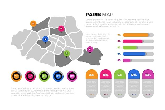 편평한 파리지도 인포 그래픽 템플릿