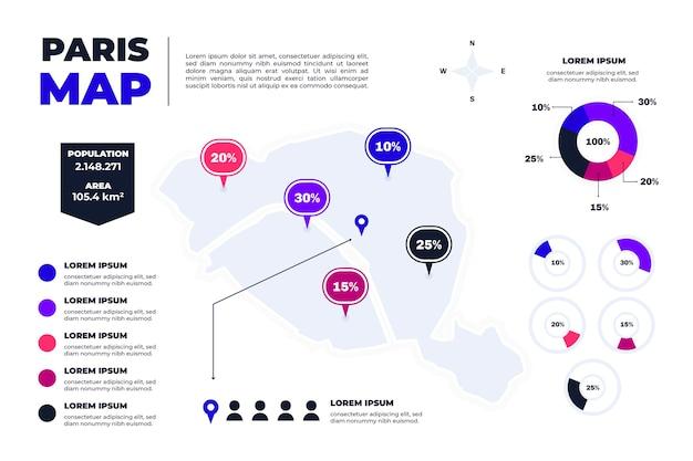 편평한 파리지도 인포 그래픽