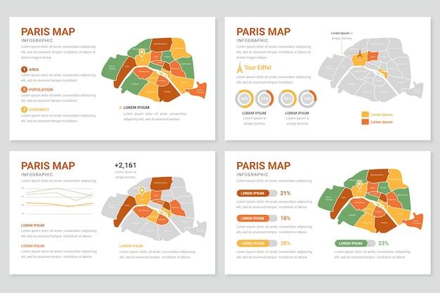 Flat paris map infographics