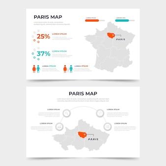 Плоский шаблон карты парижа