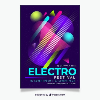 Flat party poster template with geometric design