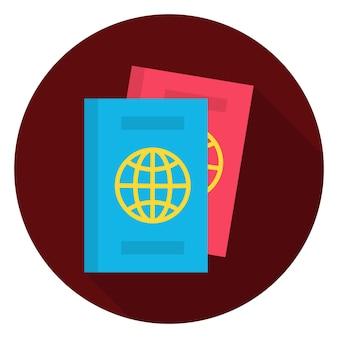 Плоский паспорт документы круг значок. векторная иллюстрация плоский стилизованный значок круга с длинной тенью