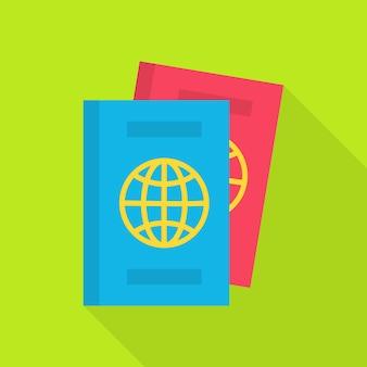 Плоский паспорт с длинной тенью. векторная иллюстрация документов плоский стилизованный