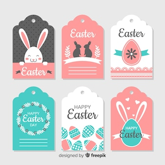 Flat pastel color easter label collection