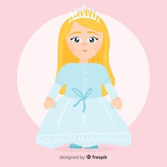 Flat pastel color princess illustration