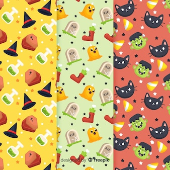 Flat pattern collection for halloween holidays
