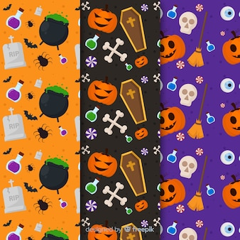 Flat pattern collection with halloween accessories with obscure elements