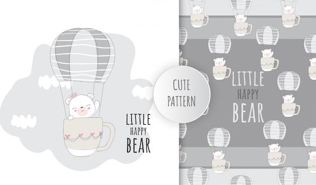 Flat pattern cute animal baby bear flying on air balloon