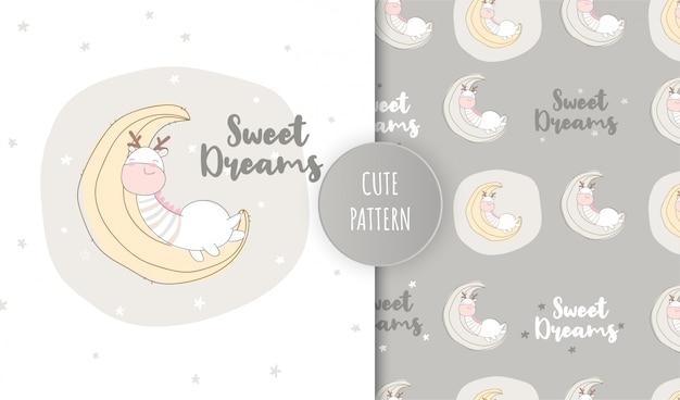 Плоский рисунок милый животных жираф спит на луне