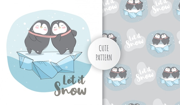Flat pattern cute animal happy penguins on the ice