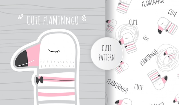 Flat pattern cute animal llama flamingo illustration