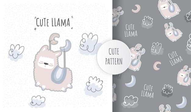 Flat pattern cute animal llama on the moon