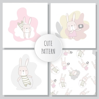 Flat pattern cute bunny collection set animal